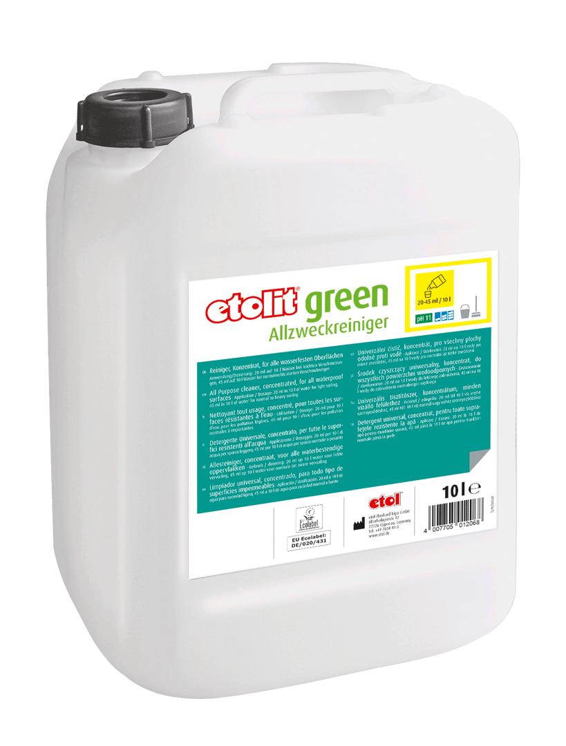 etolit green Allzweckreiniger , Spezialreiniger, gewerbliche Reinigungsmittel, nachhaltige Reinigungsmittel, EU-Ecolabel