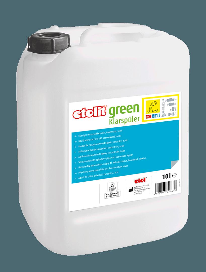 etolit green Klarspüler, Spezialreiniger, gewerbliche Reinigungsmittel, nachhaltige Reinigungsmittel, EU-Ecolabel